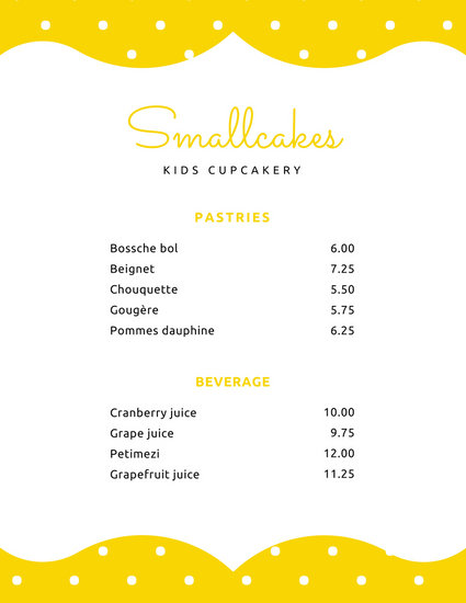 Yellow White Dots Bakery Daycare Menu - Templates by Canva