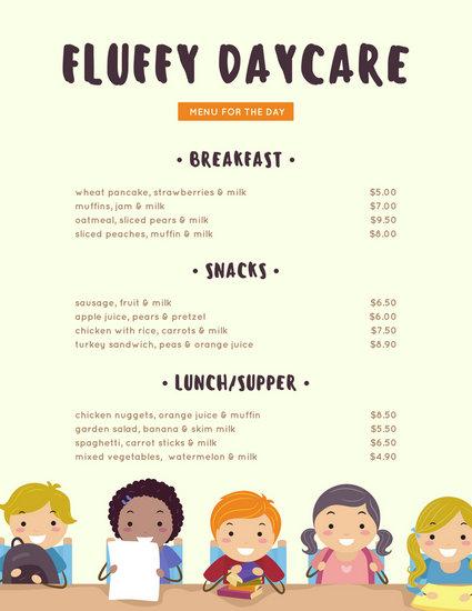 Customize 95+ Kids Menu templates online - Canva - 5 day menu template
