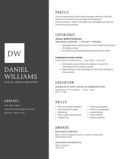 Black with White Shape for Initials Corporate Resume - Templates by