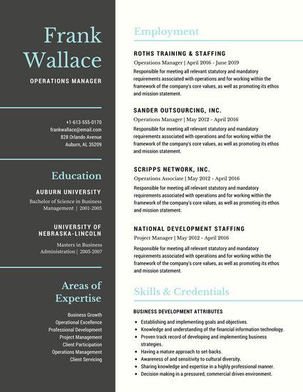 Gray Blue Simple Business Serif Corporate Resume - Templates by Canva - business resume templates