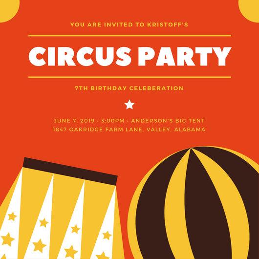 Customize 40+ Circus Invitation templates online - Canva - Circus Party Invitation