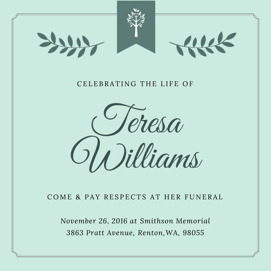 Customize 40+ Funeral Invitation templates online - Canva - Funeral Announcements Template