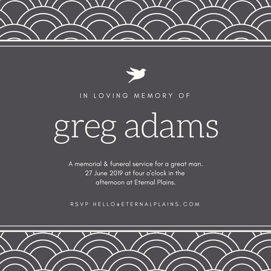 Gray Modern Pattern Bordered Funeral Invitation - Templates by Canva - invitation for funeral