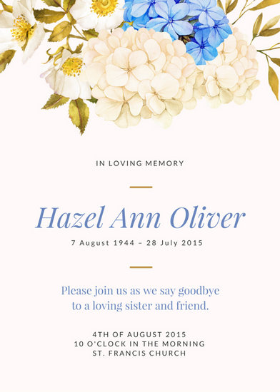 Illustrated White and Blue Flowers Funeral Invitation - Templates by - funeral invitation template