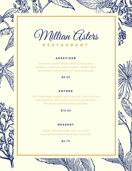 Blue and Gold Floral Elegant Menu - Templates by Canva