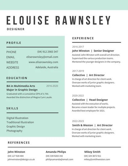 White and Aquamarine Modern Resume - Templates by Canva