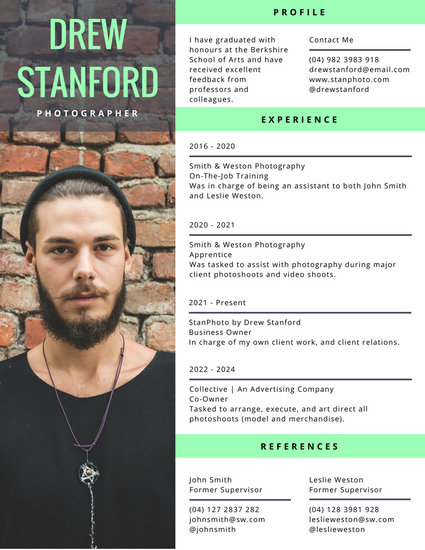 Modern Photographer Photo Resume - Templates by Canva - photographer resume template