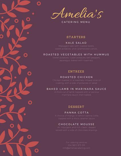 catering menu template free - Canasbergdorfbib