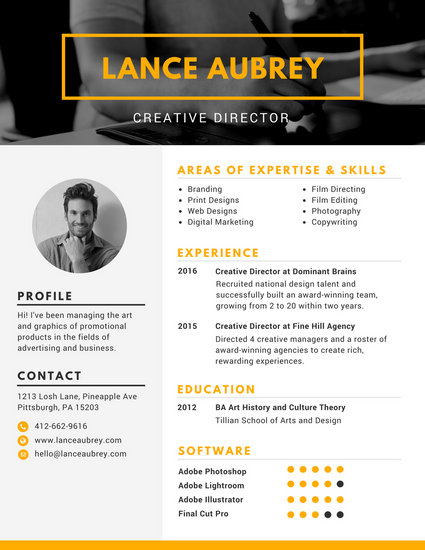 Yellow Creative Director Photo Resume - Templates by Canva - creative director resume samples