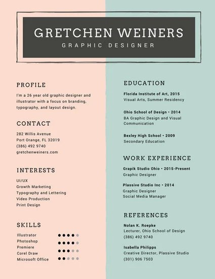Customize 980+ Resume templates online - Canva - graphic design resume template
