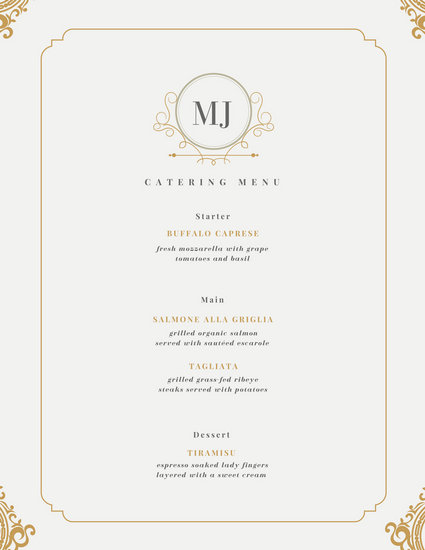 White and Golden Bordered Wedding Menu - Templates by Canva