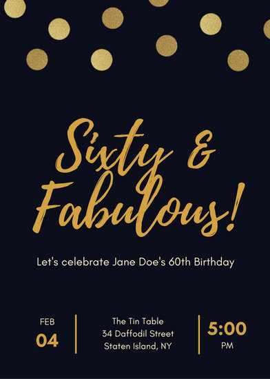 The Yellow Wallpaper Book Quotes Black And Gold Polka Dot 60th Birthday Invitation