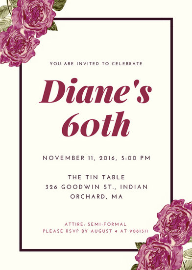 Customize 986+ 60th Birthday Invitation templates online - Canva