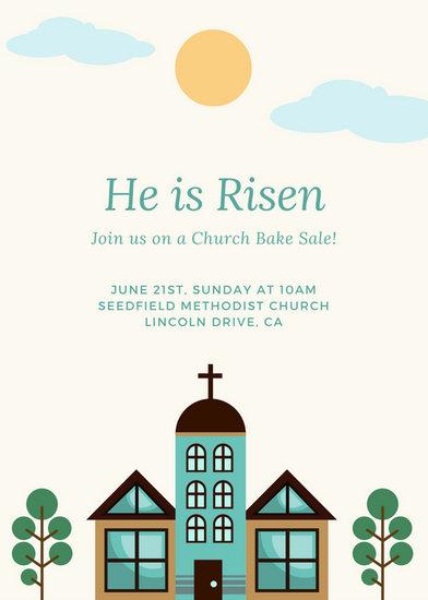 Minimalist Church Illustration Bake Sale Invitation - Templates by Canva