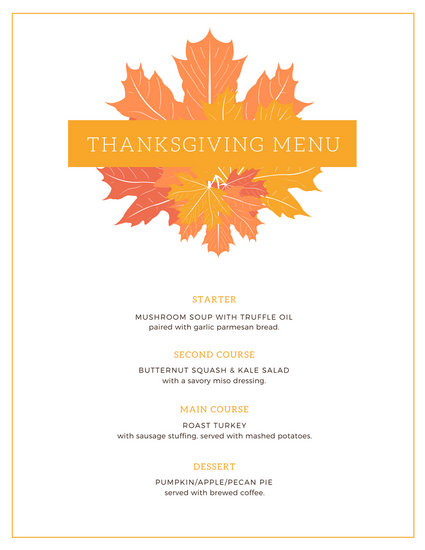 White Fall Leaves Thanksgiving Menu - Templates by Canva