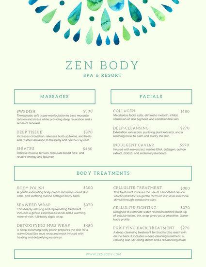spa service menu template - Josemulinohouse