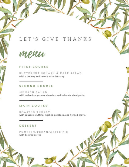 White and Green Foliage Thanksgiving Menu - Templates by Canva
