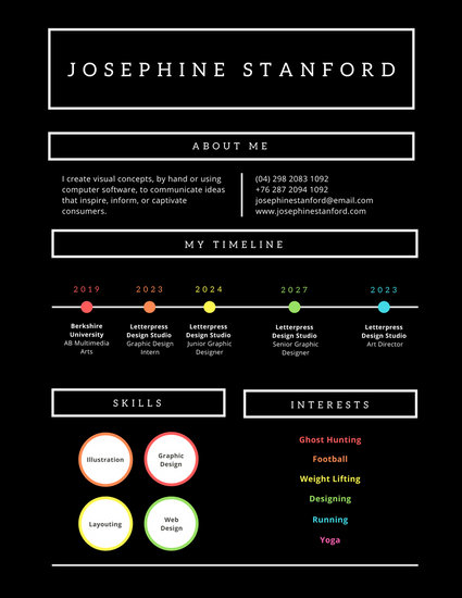 Dark Infographic and Timeline Photo Resume - Templates by Canva