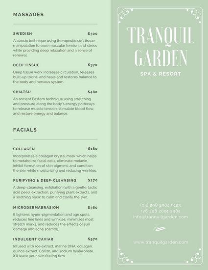 spa menu templates