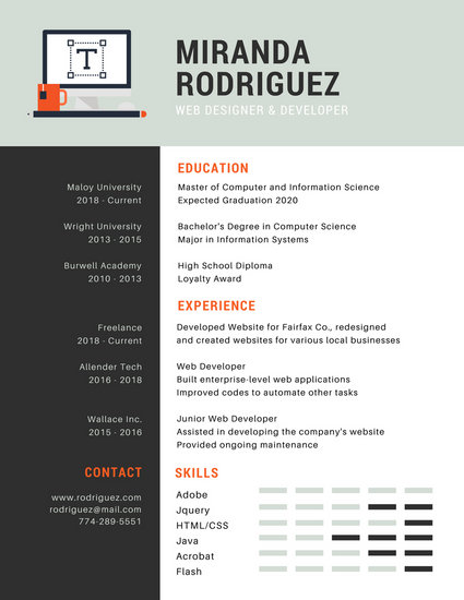 Gray and Orange Web Designer Infographic Resume - Templates by Canva