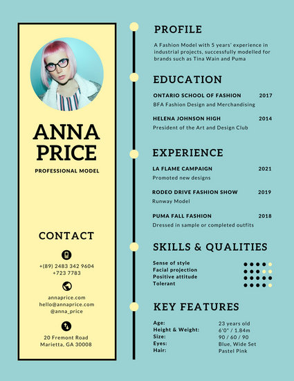 Blue Yellow Retro Simple Infographic Resume - Templates by Canva