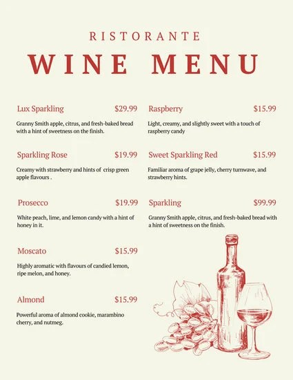 Wine Menu Templates - dinner party menu template