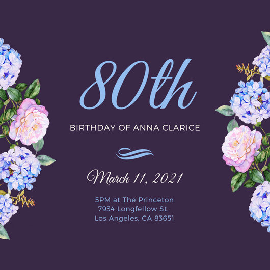 Violet Blue Floral 80th Birthday Invitation - Templates by Canva