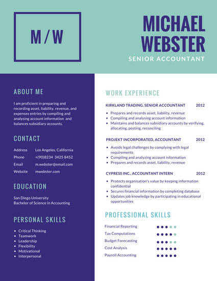 Dark Purple and Teal Simple Corporate Resume - Templates by Canva