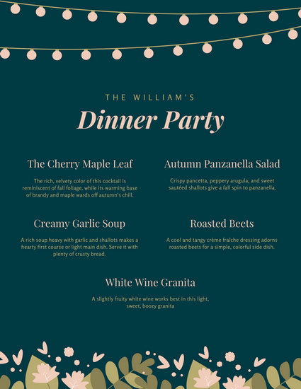 Dark Green Country Floral Dinner Party Menu - Templates by Canva - dinner party menu template