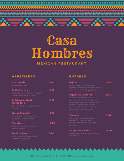 Customize 69+ Mexican Menu templates online - Canva - how to make a restaurant menu on microsoft word