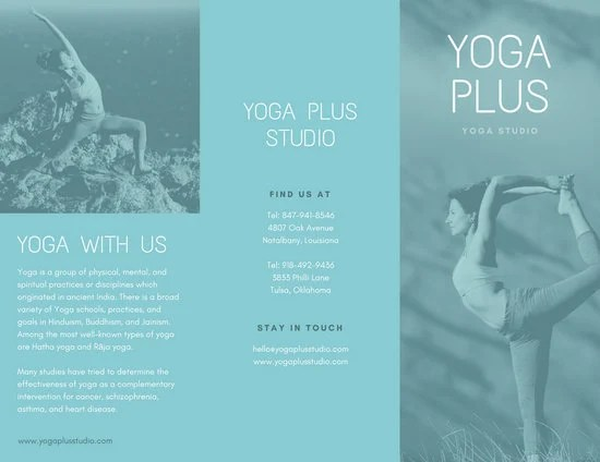 Blue Yoga Trifold Pamphlet Brochure - Templates by Canva