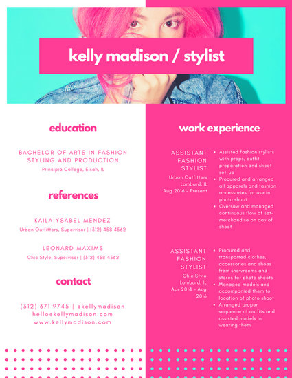 Pastel Lined Grid Boxes Fashion Stylist Colorful Resume - Templates