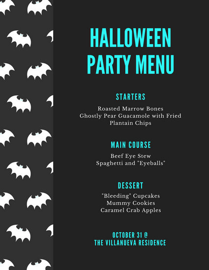 Grey White Halloween Bats Party Food Menu - Templates by Canva