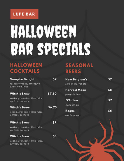 Sample Drink Menu Template 5+ Bar Menu Templates Procedure - sample drink menu template