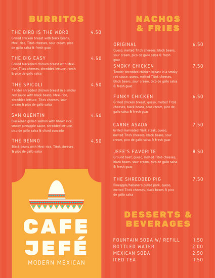 Customize 69+ Mexican Menu templates online - Canva