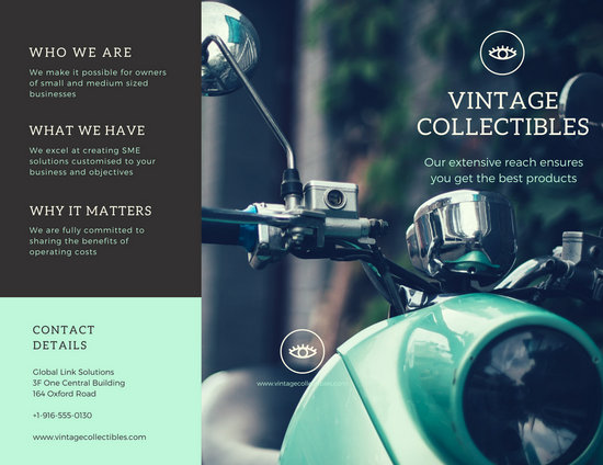 Vintage Motorcycle Products Trifold Brochure - Templates by Canva - create tri fold brochure
