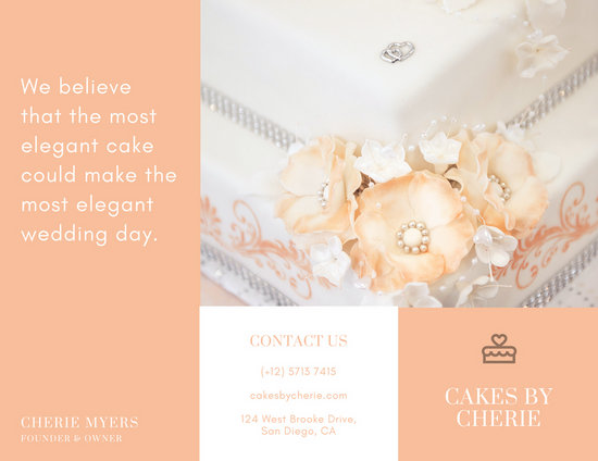 Light Orange Cake Wedding Trifold Brochure - Templates by Canva - wedding brochure template