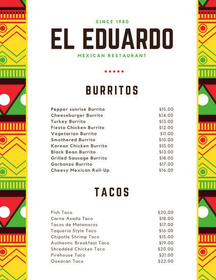 Customize 69+ Mexican Menu templates online - Canva - restaurant menu project examples