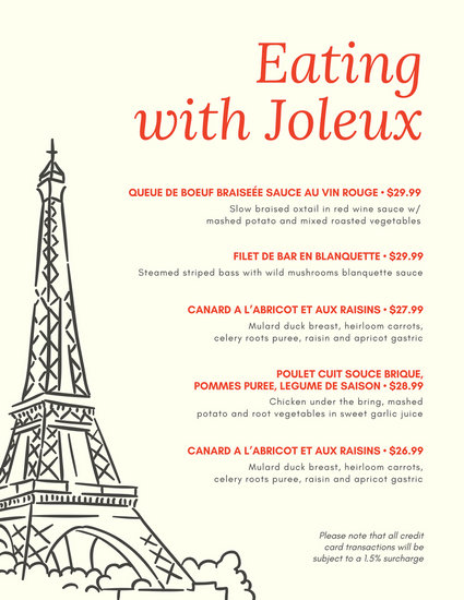 french cafe menu template - Selol-ink