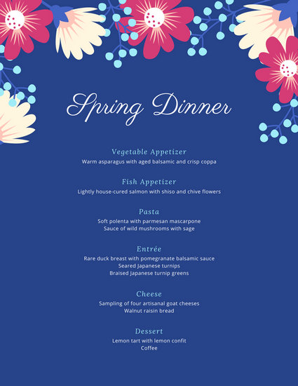 Dinner Party Menu Templates - Canva - dinner party menu template