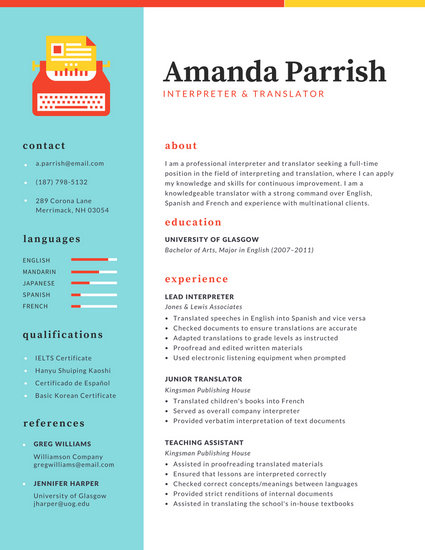 Colorful Two-Column Resume - Templates by Canva