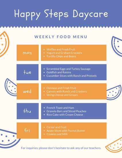 Blue and Orange Grid Daycare Menu - Templates by Canva