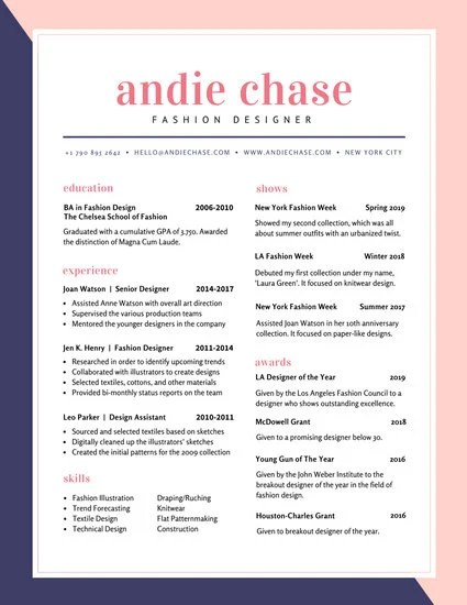 Blue and Pink Fashion Colorful Resume - Templates by Canva