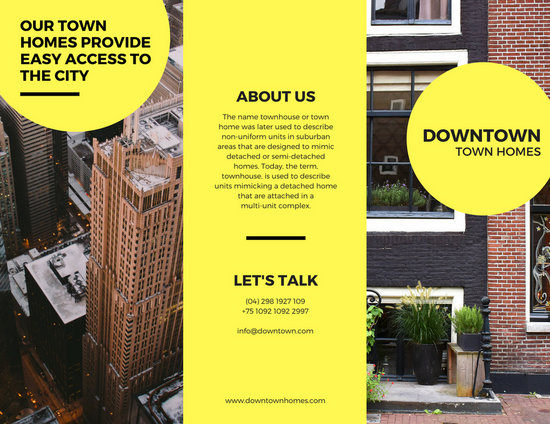 Bright Yellow Real Estate Trifold Brochure - Templates by Canva