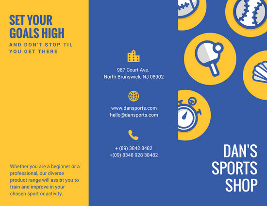 Blue Yellow Illustrated Ball Sports Sales Trifold Brochure - sports brochure