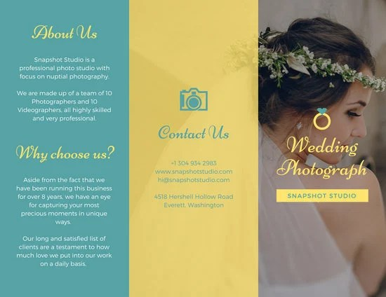 Bright Teal and Yellow Wedding Trifold Brochure - Templates by Canva - studio brochure