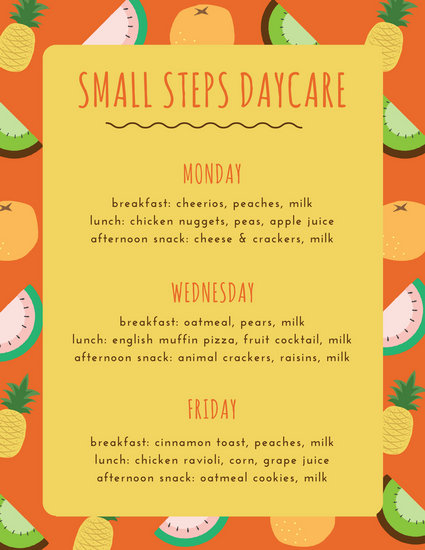 Colourful Fruits Daycare Menu - Templates by Canva