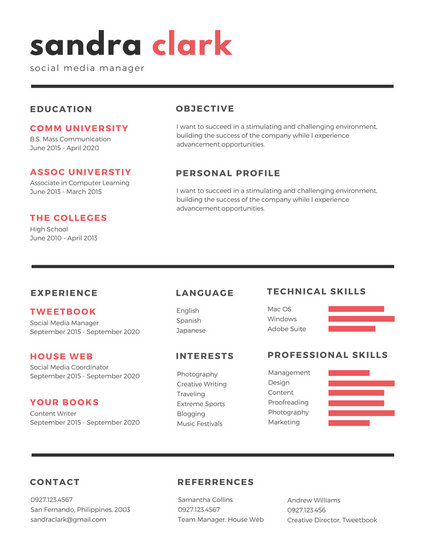 canva simple resume templates