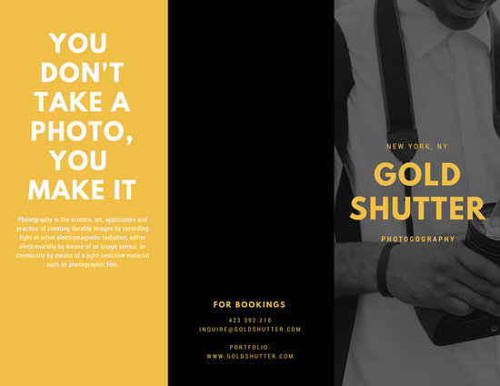 Black Gold Photography Business Tri-fold Brochure - Templates by Canva