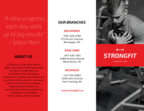 Red  Black Fitness Tri-fold Brochure - Templates by Canva - Fitness Brochure